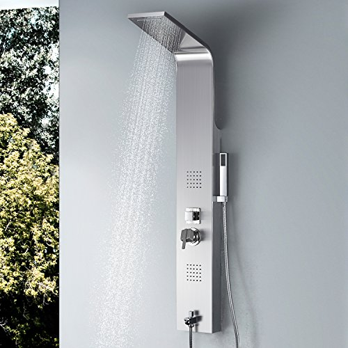 Vantory Shower Panel Tower Massage System Column Head SUS #304 Stainless Steel Multi-Function with Rainfall Waterfall Body Jets,Tub Spout, Brushed (Massage Shower Panel Spa)