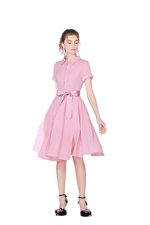 Vestidos casuales diarias Vestido de solapa Mujer Lazo rosa en una ...