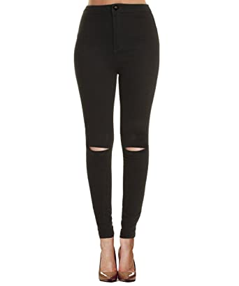 Womens black skinny jeans ripped knees