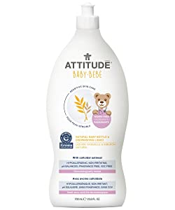 ATTITUDE Sensitive Skin, Hypoallergenic Baby Bottle & Dishwashing Liquid, Fragrance Free, 23.6 Fluid Ounce