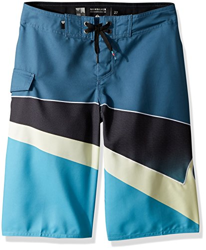- Quiksilver Big Boys' Slash Fade Logo Youth Boardshort Swim Trunk, Real Teal, 29