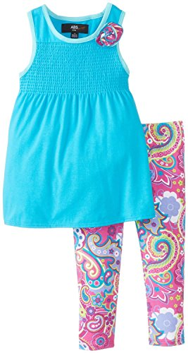 A.B.S. by Allen Schwartz Baby Girls Stella Dress with Bow 2Pc Leggings Set, Blue, Size 24 Months