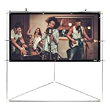 """Pyle 84"""" Outdoor Portable Matt White Theater TV Projector Screen w/ Triangle Stand - 84 inch, 16:9, 1.15 Gain Full HD Projection for Movie / Cinema / Video / Film Showing outside Home - PRJTPOTS81"""