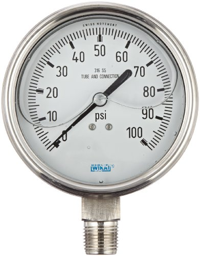 """WIKA 9832615 Industrial Pressure Gauge, Liquid-Filled, Stainless Steel 316L Wetted Parts, 4"""" Dial, 0-100 psi Range, +/- 1% Accuracy, 1/2"""" Male NPT Connection, Bottom Mount"""