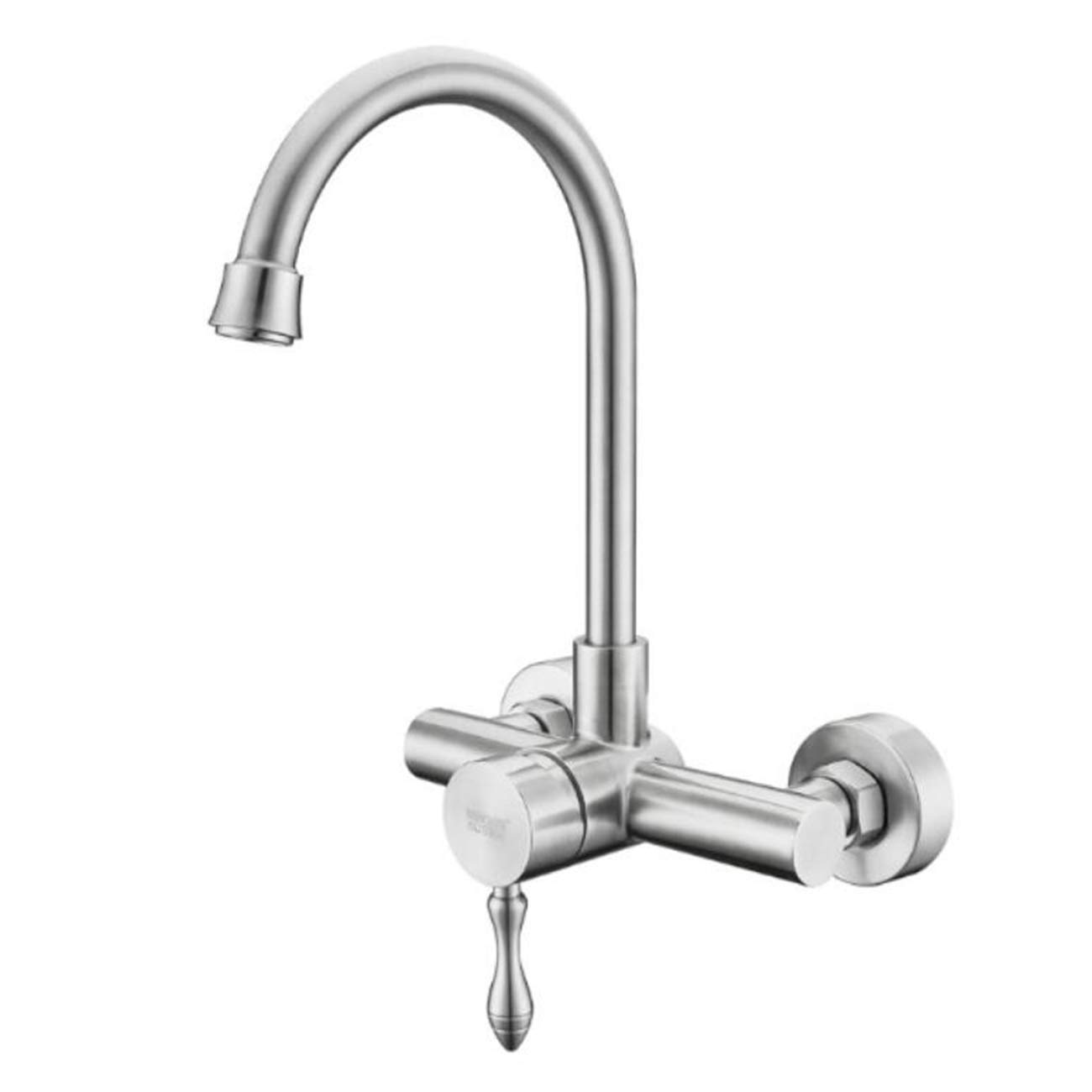 304 Stainless Steel Into Wall Kitchen Cold Hot Water Faucet Wash Basin Water Trough Washing Pool Balcony Rotatable Tap,C