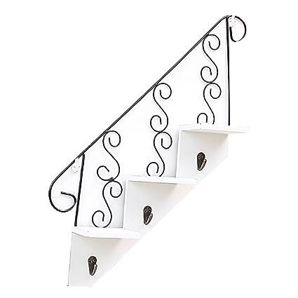DZSJ Stair Shaped Shelves Hook Hanger, 3 Step Floating Cast Art Wooden Wall  Storage Shelves