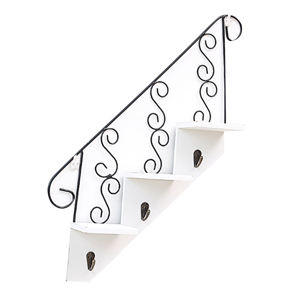 gentman Art Wooden Stair Shaped Shelves Hook Hanger Wall Decorative Flower Rack Living Room Kitchen Storage Planter