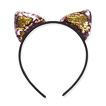 Girl Kids Sequins Cat Ear Party Xmas Paillette Hairband Headband Headwrap Hoops