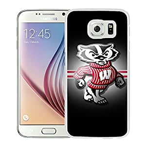 Samsung Galaxy S6 Ncaa Big Ten Conference Football Wisconsin Badgers(2) White Screen Cellphone Case Luxurious and Handmade Cover