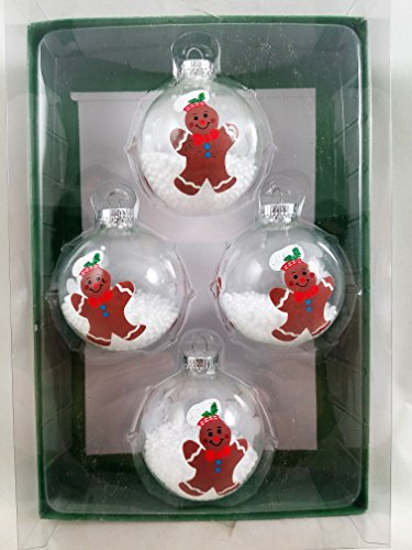 GINGERBREAD COOKIE BOY Snow filled Glass Ornaments Christmas ()
