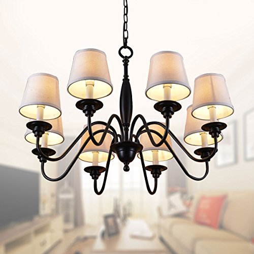 8-Light Black Wrought Iron Chandelier with Cloth Shades (E-7057-8)