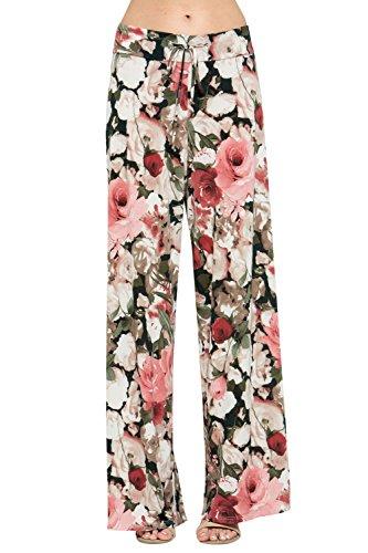 12TREES Women Floral Print High Drawstring Waist Wide Leg Palazzo Pants Plus Size