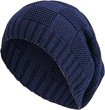 427a8f0eaf37f3 Damen Herren Strickmütze Streifendesign Muster Long Beanie Wintermütze lange  Slouch Mütze One Size Blau