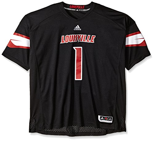 NCAA Louisville Cardinals Adult Men Premier Football Jersey, 4X-Large, Black by adidas