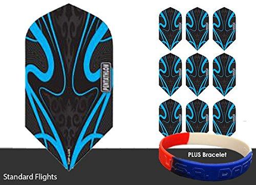 Pentathlon TDP LUX Black Series Slim Dart Flights Choice Of Colors - 3 sets - With Bracelet (Cyan)