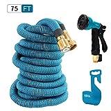 HBlife 75 ft Expandable Garden Water Hose with 8 Spray Pattern Nozzle, Hose Hanger & Storage Bag, Light Blue
