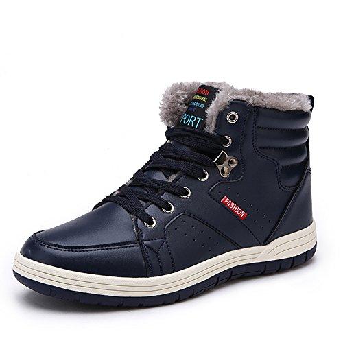 Arke Hommes Chaud Hiver Botte De Neige Fourrure Doublée Lacer Up Cheville Baskets Haute Top Chaussures Mode Sneaker Bleu Marine
