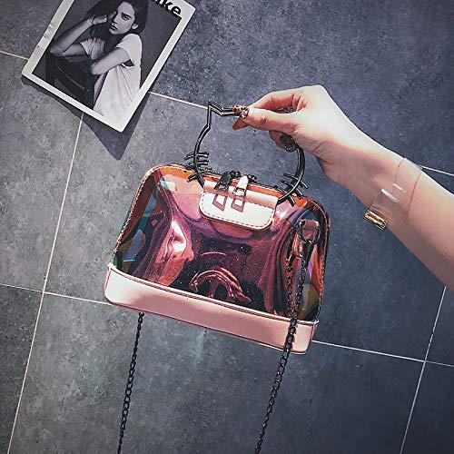 femminile WSLMHH moda selvaggia rosa tracolla catena versione Borsa a piccola a borsa della ragazza coreana messenger rosa laser borsa qqAEF