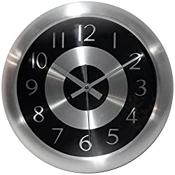Infinity Instruments Mercury Black Silent Sweep 10 Inch Aluminum Wall Clock