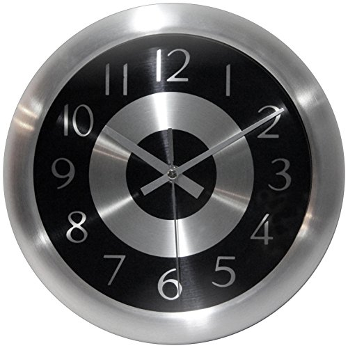 Infinity Instruments Mercury Black Silent Sweep 10 Inch Aluminum Wall Clock (Clock Neon Awesome)
