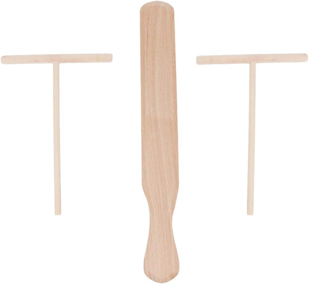 UPKOCH 3Pcs Esparcidor de Crepe de Madera Crepe Cremoso Esparcidor de Masa de Pasta Herramienta de Cocina DIY