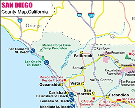 Amazon Com San Diego County Map 36 W X 28 72 H Office Products
