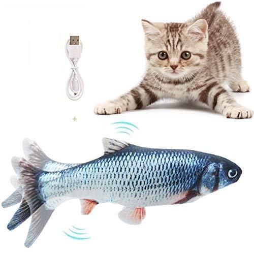 🥇 Flysee Eléctrica Juguete Pez para Gato,Peluche de Juguete eléctrico de simulación Fish Fish con Carga USB,Mascotas Interactivo de Felpa Pez para morder