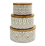 Decorative Containers Canister Set 3, Porcelain Geometric Storage Jars with Bamboo Lids, Gift for Women