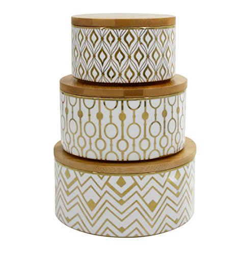 Decorative Containers Canister Set 3, Porcelain Geometric Storage Jars with Bamboo Lids, Gift for Women (Lid Ceramic Jar Cookie With)