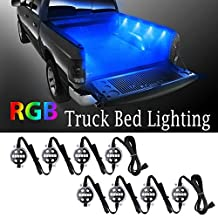 LED Truck Lighting Kit, Derlson Truck Bed Rail Lights , Truck LED Lights exterior / Interior with On/Off Switch and Fuse for Pickups, RVs, Vans and Cargos [ RGB LEDs, Remote Control ,IP67 Waterproof ]