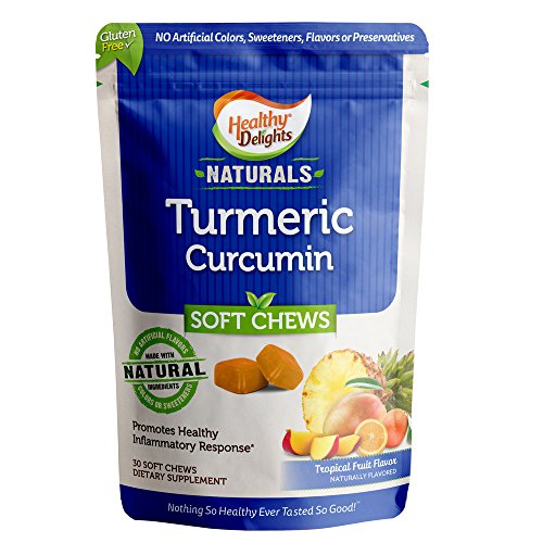 Cheap Healthy Delights Naturals, Turmeric Curcumin Soft Chews, Promotes Healthy Inflammation Response, 100 mg of Turmeric per chew, Delicious Tropical Fruit Flavor, 30 Count