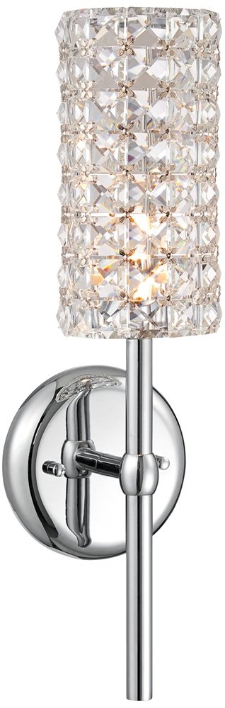 Crystal Cylinder 16'' High Chrome Wall Sconce by Vienna Full Spectrum