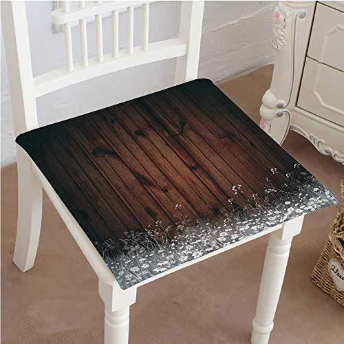 - Mikihome Outdoor Chair Cushion Antique Old Planks American Style Western Rustic Wooden,Small Grass and Daisies Comfortable, Indoor, Dining Living Room, Kitchen, Office, Den, Washable 24