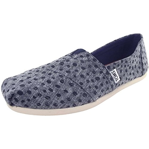 TOMS' Women's Seasonal Classic Canvas Slip On Navy Dots 9 M US