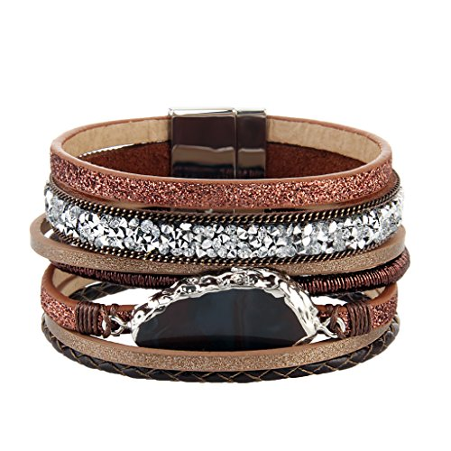 Brown Handmade Braided Bracelet – Leather Wrap Bracelet – Charm Cuff Bangle – Agate Stone – Crystal Rhinestone – Magnetic Buckle – Alloy Accessories for Women,Girl Gift By Jenia (Diamond Buckle Bangle)