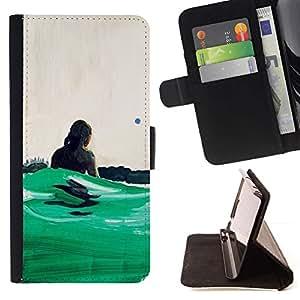 Momo Phone Case / Flip Funda de Cuero Case Cover - Verde Surf Olas de Verano de Hawaii - LG G3