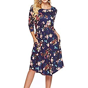 ZJCT Womens Dresses 3/4 Sleeve Round Neck Floral Casual Swing Midi Dress with Pockets