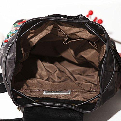 Abaría - Mochilas tipo casual con bordados flores bolso mujer universidas mochilas escolar chica de Impermeable, azul mediana negro mediana