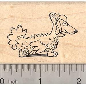 Thanksgiving Dachshund Dog Rubber Stamp, in Turkey Costume