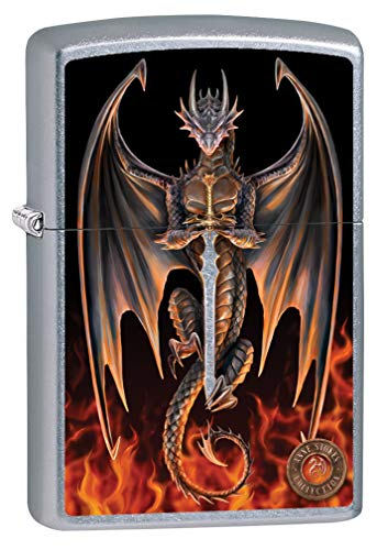 Zippo Lighter: Anne Stokes Dragon with Fire and Sword - Street Chrome 80004