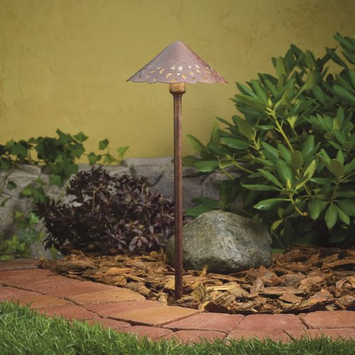 Kichler Lighting 15843TZT LED Decorative Hammered Roof Low Voltage Landscape Path and Spread Light, Textured Tannery Bronze