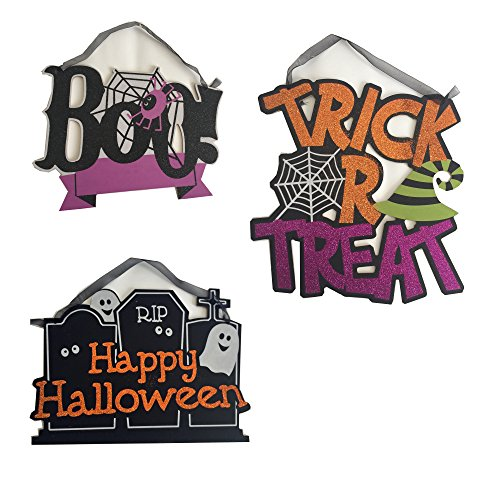 Halloween Decoration Set of 3 Glitter Hanging Indoor Outdoor Signs