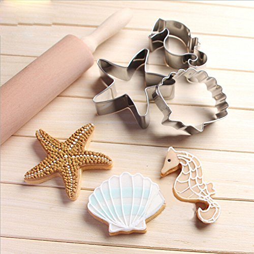 GXHUANG Ocean World Sugar Biscuit Cookie Cutters - Stainless Steel,Set of 3 Starfish Hippocampus Shell (Starfish Cutter Cookie)