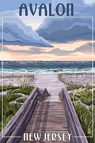 Beach Boardwalk Scene (24x36 SIGNED Print Master Giclee Print w/ Certificate of Authenticity - Wall Decor Travel Poster) (Avalon Toilet)