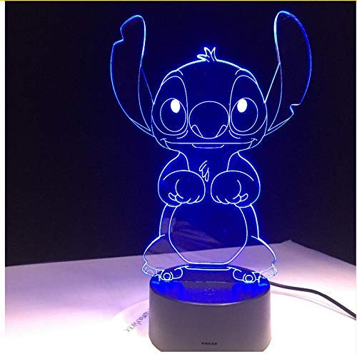 Sykdybz Stitch Cartoon 3D Led Lamp Bedroom Table Night Light Acrylic Panel USB Cable 7 Colors Change Touch Base Lamp Kids Gift