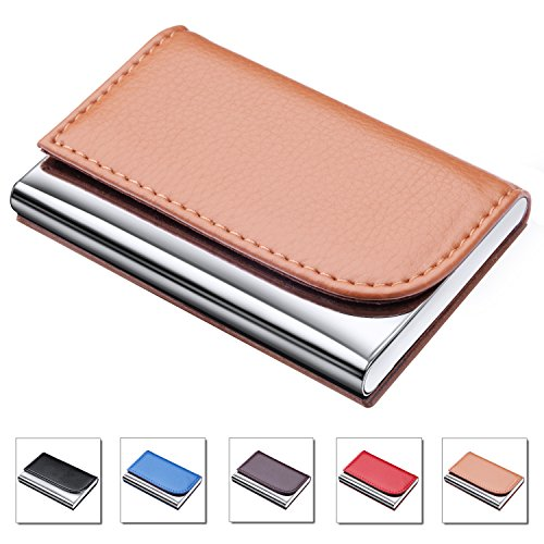 Stainless Steel Business Cards - DMFLY Business Card Holder for Women and Men, 2018 New Version PU Leather Business Card Case Stainless Steel Metal Card Case with Magnetic Shut, Keep Business Cards in Immaculate Condition