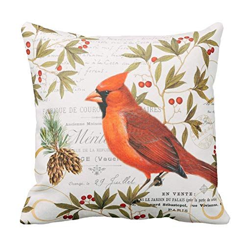 Royalours Throw Pillow Covers Vintage Christmas Cardinal Birds Stand on The Tree Branches Cotton Linen Halloween Decorative Pillow Case Cushion Cover Pillowslip 18
