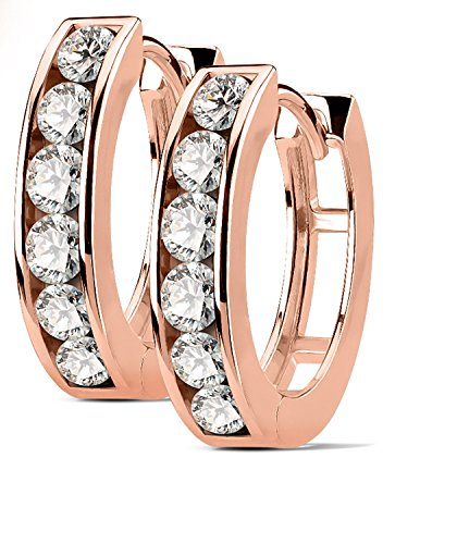 17 Mm Stone (17MM Small Hoop Hypoallergenic Surgical Steel Rhodium Plated Earrings for Men Women Huggie Earrings With With 1 Rows Of Cubic Zirconia (Rose Gold Plated))