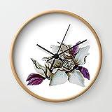 Society6 ShWtPur Pillow Wall Clock Natural Frame, Black Hands