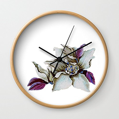 Society6 ShWtPur Pillow Wall Clock Natural Frame, Black Hands by Society6